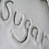 the word sugar is writed on sugar